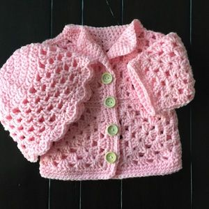 Pink Baby Sweater and Hat Hand Crocheted